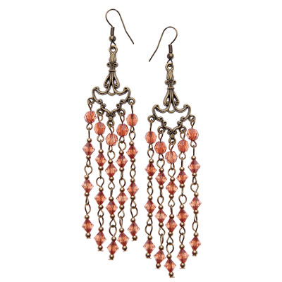 Long Light Brown dangling earrings-JB037_1