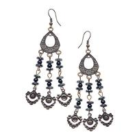 Black and White Marble Beaded Dangling Earrings-JB046