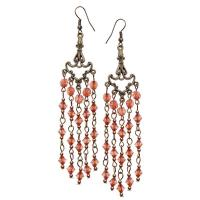 Long Light Brown dangling earrings-JB037