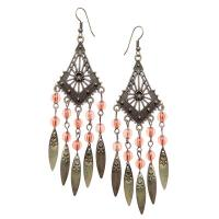 Long 'triangle' shape brown beaded earrings-JB045