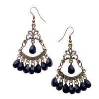 Black bead chain chandelier earrings - JB039