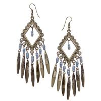 Grey Dangling Beaded Earrings